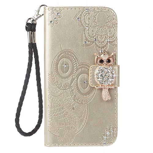 Cover iPhone 7 Plus/iPhone 8 Plus, Bear Village® Gufo Chiusura Magnetica Custodia in Pelle con Cinturino da Polso e Slot per Schede per Apple iPhone 7 ...