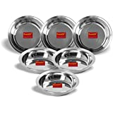 Sumeet Stainless Steel Heavy Gauge Multi Utility Serving Plates With Mirror Finish 19cm Dia - Set Of 6pc