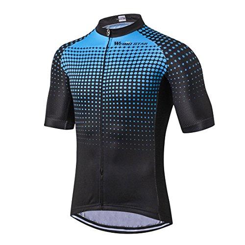 Shenshan Radsport-Jersey-Mann-Fahrrad-Kleidung Straßen-Zyklus-Sommer-Berg-MTB-Fahrrad-Kleidungs-Kurzschluss-Hülsen-T-Shirts im Freiensport-Spitzenluftdurchlässiges RDing Blau Größe XXXL (Berg-mann-kleidung)