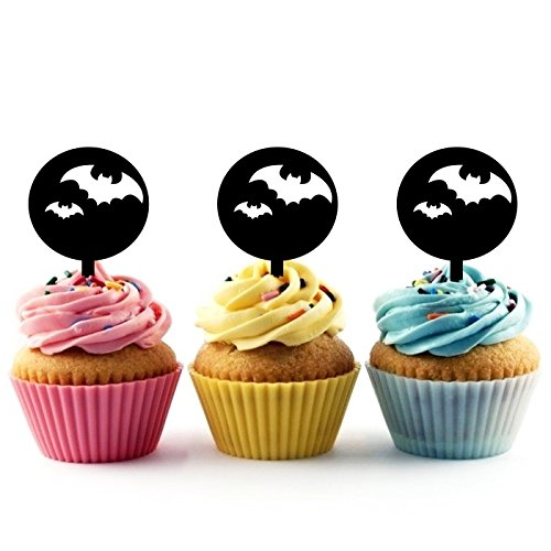 Innovedesire Halloween Full Moon Bat Kuchenaufsätze Hochzeit Geburtsta Acryl Dekor Cupcake Kuchen Topper Stand für Kuchen Party Dekoration 10 Stück