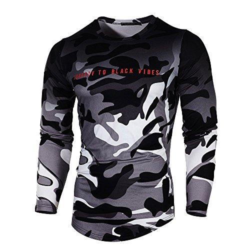 T-Shirt Homme,Hommes Automne Personnalité Camouflage Casual Slim Sport T-Shirt Manches Longues Slim Top Blouse BaZhaHei