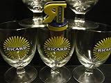 6Ricard Gläser mit Sonnenmotiv, 17cl, Höhe:10cm, inkl. 1Ricard Flaschenausgießer als Geschenk