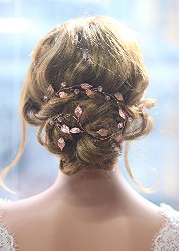 Gracewedding Brautschmuck / Haarschmuck für die Hochzeit, Rotgold, geeignet für lange Haare, Design: Kletterpflanzen im Vintage-Stil, Kristall-Haar-Zubehör -