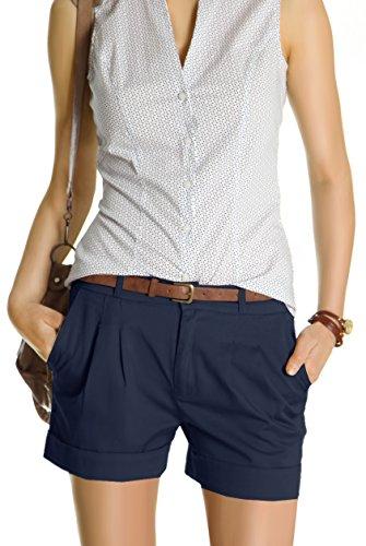 Bestyledberlin Damen Shorts, kurze Chino Hosen, Damenhosen, Bundfaltenhosen j161p 36/S navy (Kurze Shorts Super)