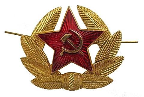 GENUINE Soviet Russian Red Army Officers USHANKA CAP BADGE - Original USSR Military Hat Pin