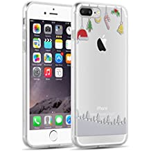 Cover iPhone 8 Plus Cover iPhone 7 Plus, JAMMYLIZARD [Sketch] Custodia in Silicone Trasparente Semi Morbido Ultra Slim con Disegno per Apple iPhone 8 Plus e Apple iPhone 7 Plus, DECORAZIONI NATALIZIE
