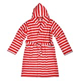 Betz Kinder Bademantel Kinderbademantel mit Kapuze Ringel Farbe rot grau