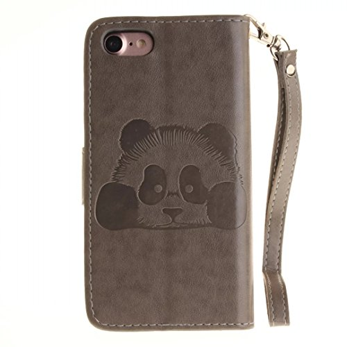 iPhone 7Case, Augus tcoco Embossed Panda Pattern PU Leather Flip Folio Kickstand Wallet Case with Card Slots and Wrist Strap for iPhone 7 grigio