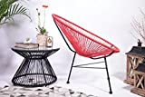 Retro Lounge Sessel Acapulco Mexiko Design Indoor & Outdoor Rahmen & Füße Pulverbeschichtet; Farbe Rot