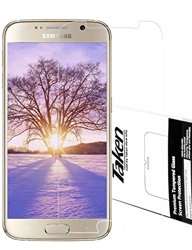 Taken Galaxy S6 Displayschutzfolie - Hartglas Displayschutz 9H Hardness Ultra Transparente für Samsung Galaxy S6 (Clear)