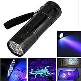 HCFKJ Mini Aluminium Uv Ultra Violet 9 Led Taschenlampe Blacklight Taschenlampe Lampe