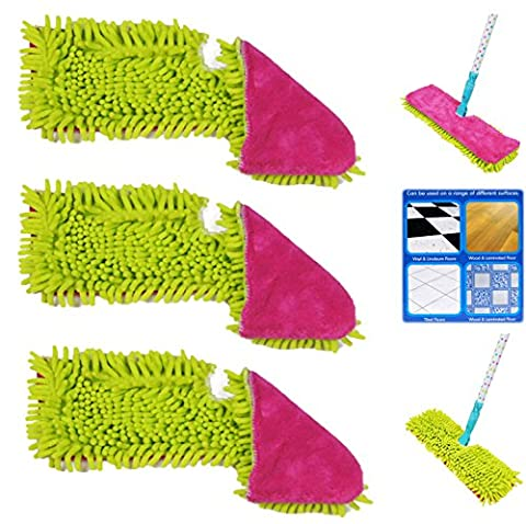 Set of 3 Double Sided Microfibre Mop Head Cloth Pad Refill - 1 Chenille and 1 Short Pile Microfiber