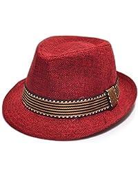Zoylink Sombrero de Vaquero Unisex Sombrero de Fieltro Sombrero de Jazz de  Ala Corta de Moda 7b9e3ed01af
