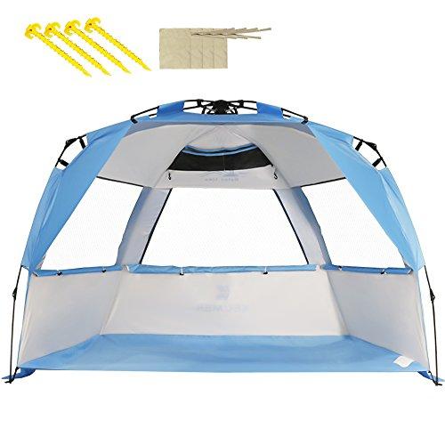 Zomake tenda da spiaggia, tenda facile da installare con protezione uv per 2-4 persone (argento bianco blu)