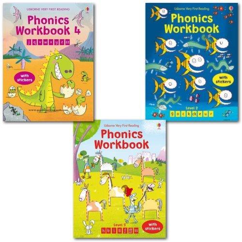 Usborne Very First Reading Phonics Workbook Collection Set, (Phonics Workbook...