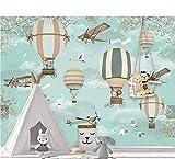 Ytdzsw Blaue Wolke Flugzeug Feuer Ballon 3D Karikatur Tapeten Wandbilder Für Kinder Kind Baby Zimmer Wandbild 3D Karikatur Wandbild 3D Wandpapier-450X300Cm