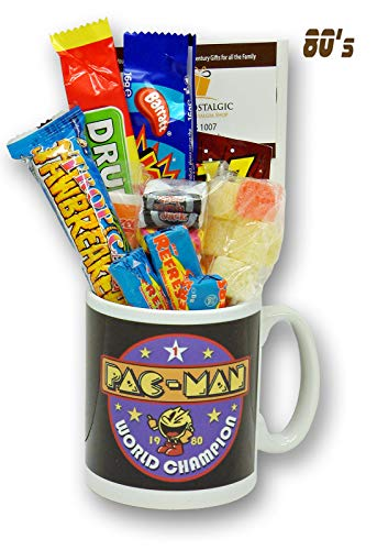 Pac-Man Champion Mug with an Arcade Selection of 1980's Retro Sweets