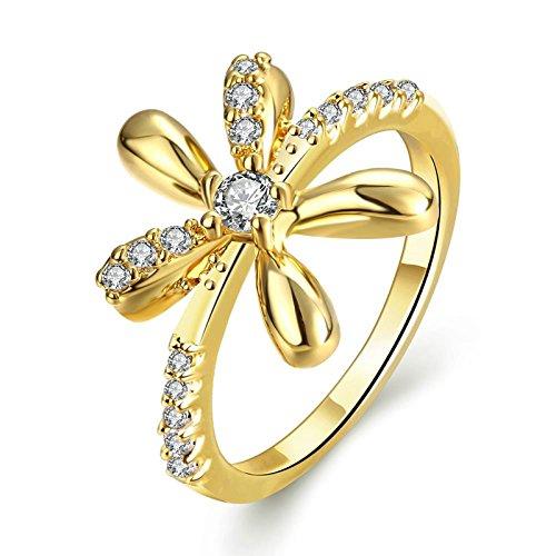 Gnzoe Schmuck Damen Ring 18K Vergoldet Brilliant mit CZ Elegant Blumen Form Gold Gr.57 (18.1)
