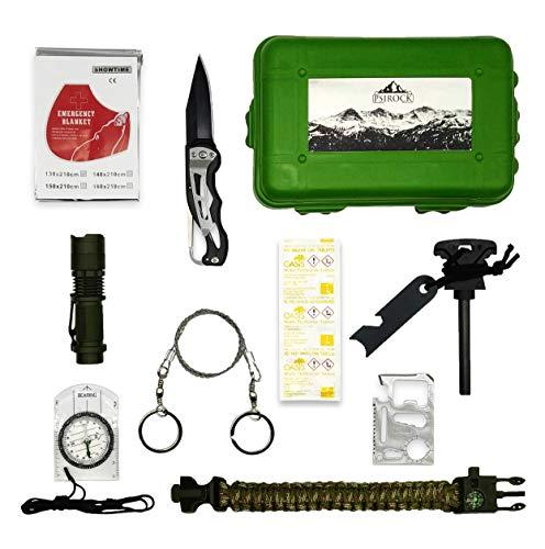 kit sopravvivenza montagna | kit di sopravvivenza professionale | Survival kit Acciarino sopravvivenza Pastiglie acqua potabile Bushcraft kit Bracciale sopravvivenza kit trekking bussola cartografica