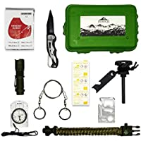 Kit de supervivencia profesional | Kit supervivencia montaña | Navaja multiusos pedernal supervivencia | Bushcraft Vivac Acampada | Manta térmica supervivencia Pulsera supervivencia Survival kit