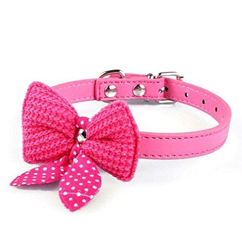 Sannysis® Knit Bowknot Collar del perrito; Cuero ajustable Collar par