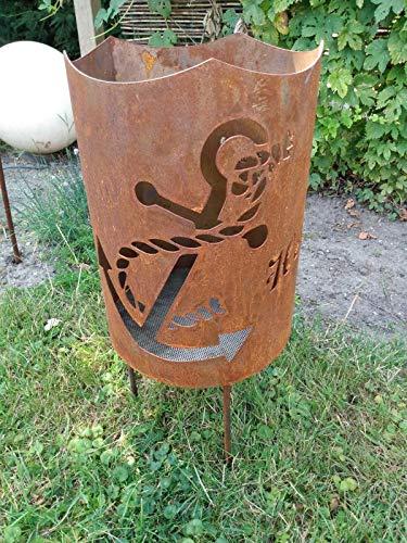 Feuerkorb Feuerstelle Metall Rostoptik Feuerschale Stahl Motiv Anker Heimathafen (Einfache Feuerstelle)