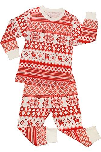 CharmLeaks Mädchen Schlafanzug Rosa Jungen Pyjama Unisex Zweiteiliger Schlafanzug Schneeflocken 122, 5-6 Jahre (Rosa Schneeflocke-hose)