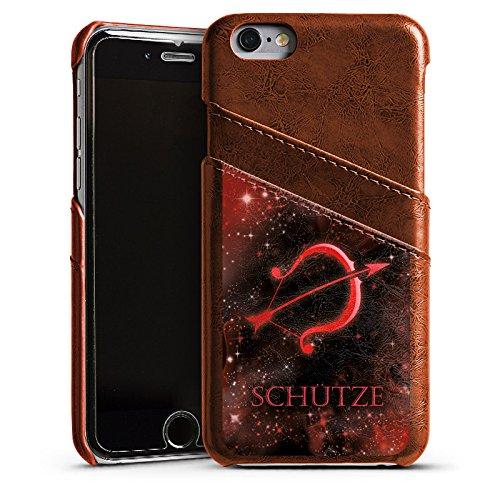 Apple iPhone 6 Housse Étui Silicone Coque Protection Signes du zodiaque Tireur Arc Étui en cuir marron