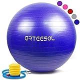arteesol Gymnastikball 45cm/55cm/65cm/75cm Yoga Ball Auti Burst Core Gymnastikball mit Schnellpumpe für Pilates...