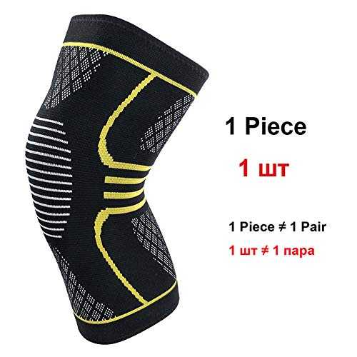 WXQQ SportKniebandage Rutschfester Knieschoner für Damen und Herren stabilisiert Meniskus Bänder und Patella beim Sport und im Alltag atmungsaktive Knieorthese für schmerzlinderungYellow