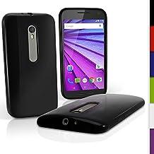 igadgitz Sólido Negro Lustroso Funda Carcasa Gel TPU para Motorola Moto G 3 ª Generación 2015 XT1540 Case Cover + Protector Pantalla