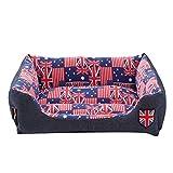 Panier pour Chien Chat Animaux, Kolylong Chiot Coussin Maison douce et chaude couverture chenil tapis de chien (M-58*45*14cm, Bleu)