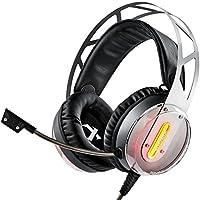 Gaming Headset Xiberia x12Cuffie con microfono controllo volume Luce LED COMPUTER PC Adattatore per Playstation 4PS4PC MAC, Grey