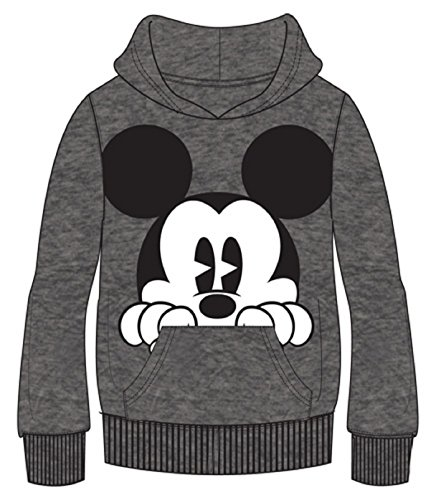 Disney Erwachsene Kapuzenpullover Mickey Peeking Hoodie, Grau (Large, Grau)