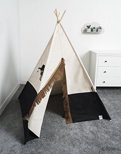Kinderzelt Tipi, Tipi Spielzelt für Jungen, Indianerzelt, Indianische Tipi produziert in der EU von Cozydots, Black
