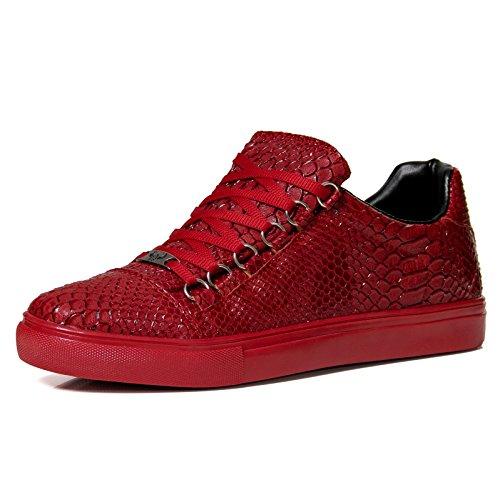 Tamboga Herren Sneaker Schuhe Sport Skater Schwarz G4 Snake Skin Rot