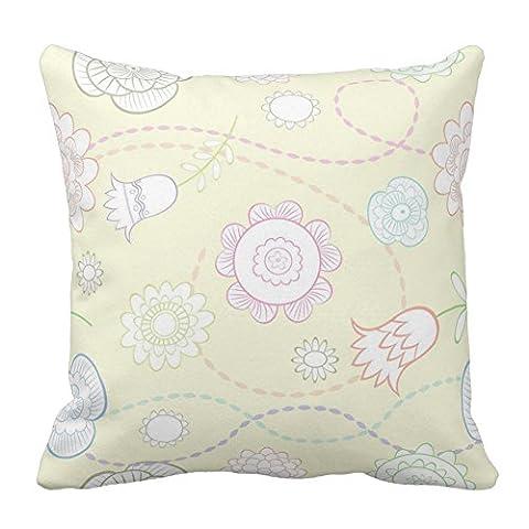 coloré Fleur Floral Jaune clair Couvre-lit décoratif Taie d'oreiller carré Housse de coussin Taie d'oreiller, couleurs, 18x18 Inch
