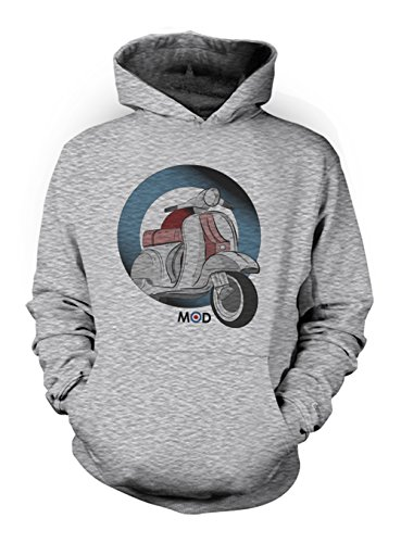 Moped Mod Culture Herren Hoodie Sweatshirt Grau Medium Mod Zip-hoody