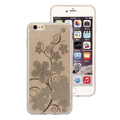 iPhone 6 Coque iPhone 6S Bling Case - Felfy Ultra Mince Scintiller Glitter Bling Shiny Paillette Coque Back Cover Silicone TPU Etui Housse Slim Cover Etui de Protection Cas en caoutchouc en Ultra Slim Champagne Vigne Fleur