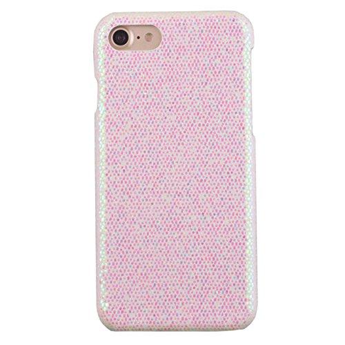 Voguecase® für Apple iPhone 7 Plus 5.5 hülle, (Gitter Muster/Braun) Hybrid Hülle Schutzhülle Case Cover + Gratis Universal Eingabestift Glitzer Leuchtend-Hell-Pink