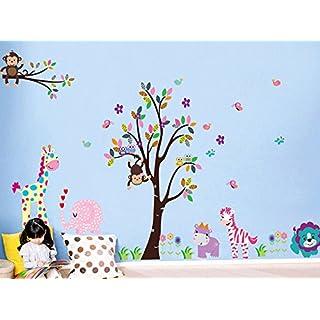 ufengke® Xlarge Bunten Baum und Cartoon-Tier Wandsticker, Schöne Giraffe Zebra Löwe Tiger Affe,Kinderzimmer Babyzimmer Entfernbare Wandtattoos Wandbilder, Set von 2 Blatt