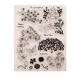 ECMQS Flower DIY Transparente Briefmarke, Silikon Stempel Set, Clear Stamps, Schneiden Schablonen, Bastelei Scrapbooking-Werkzeug