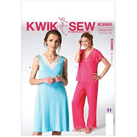 Kwik Sew Patterns K3980 Misses Tops/Nightgown and Pants Sewing Template, All Sizes by McCall Pattern Company