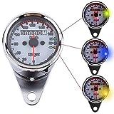 VGEBY Motorrad Digitaltacho LED Kilometerzähler Tachometer Drehzahlmesser Geschwindigkeitsmesser Signallicht 2 Farben ( Farbe : Sliber )