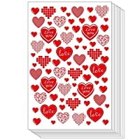 TUPARKA 10 Sheet 600PCS Valentine Heart Stickers Red Hearts PVC Sticker Love Heart Stickers for Valentine