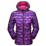 Jitong Herren Damen Langarm Hoodies Parka Camouflage Leicht Daunenjacken Steppjacke Daunen Mantel Frauen: Rose XL