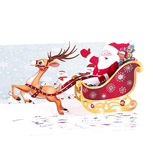 Jvsism cartoline di natale -up confezione da 5 - biglietti di auguri natalizi aggiornati anno nuovo bulk - biglietti di auguri con 5 biglietti da visita note e buste