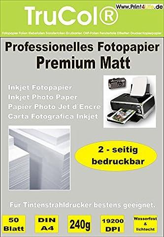 50 Blatt PREMIUM MATTES beidseitiges Fotopapier Inkjet-Papier Photopapier 240g /m² doppelseitig DIN A4 bis 9600 DPI Tintenstrahldrucker wasserfest spezialbeschichtet