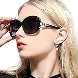 FIMILU Sonnenbrille Damen Über-Groß, Retro Designer-polarisiert Brille Frauen, 100% UVA/UVB Schutz (Schwarz,Grau)