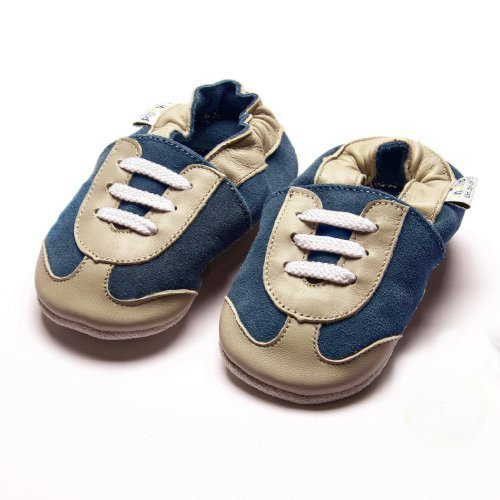 Jinwood designed by amsomo - SPORTY petrol - soft sole - Turnschuhe - Hausschuhe - Lederpuschen - Krabbelschuhe Blau